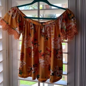 Orange floral shirt